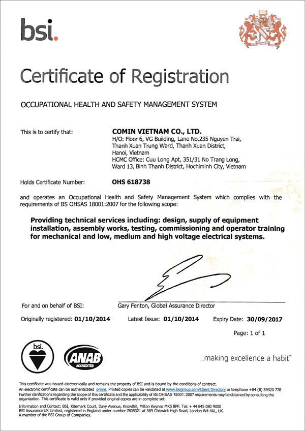 Comin Vietnam awarded OHSAS 18001:2007 certification | Comin Asia